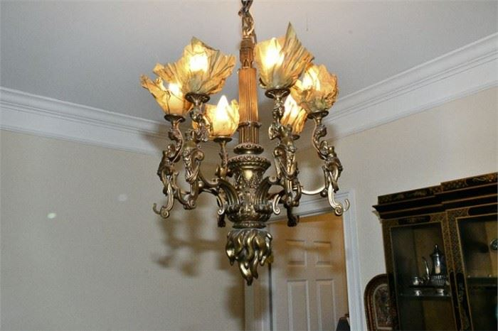 41. Antique Belle Epoch Bronze Chandelier