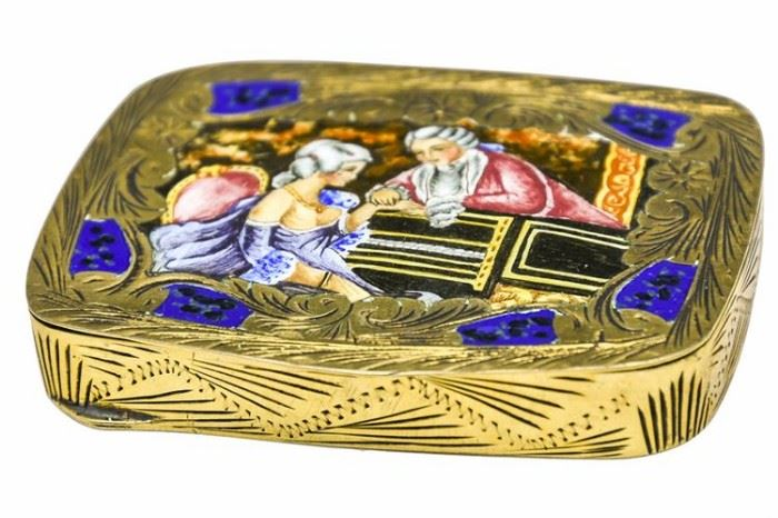 43. Gilt Silver and Enamel Compact