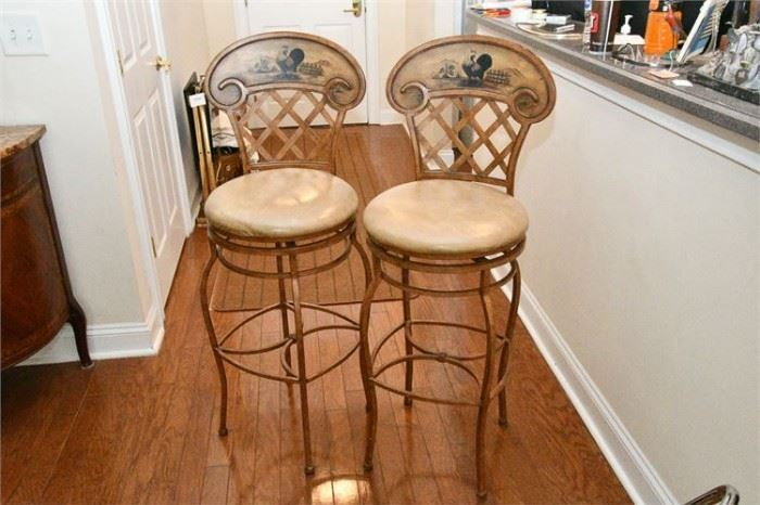 45. Pair of Painted Metal Country French Kitchen Stools