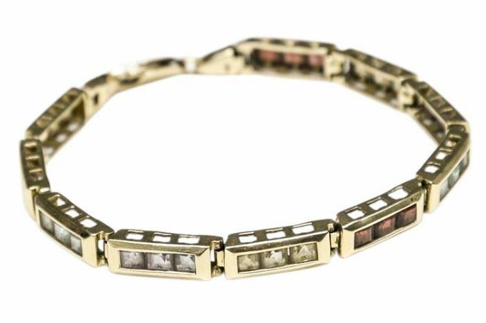 52. Retangular Link And Semi Precious Stone Bracelet