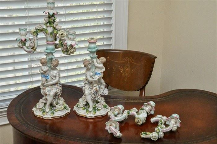 54. Pair of MEISSEN Porcelain Candelabra