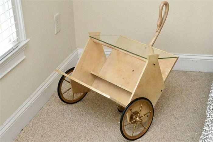 58. ALDO TURA Lacquered Goatskin Magazine Cart