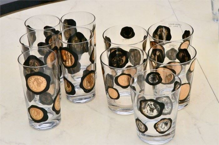 71. Set of Ten 10 Coins of the World Highball Glasses