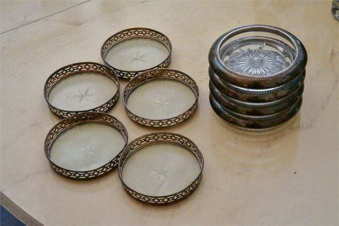 72. Two 2 Sets of Silver Rimmed Coasters