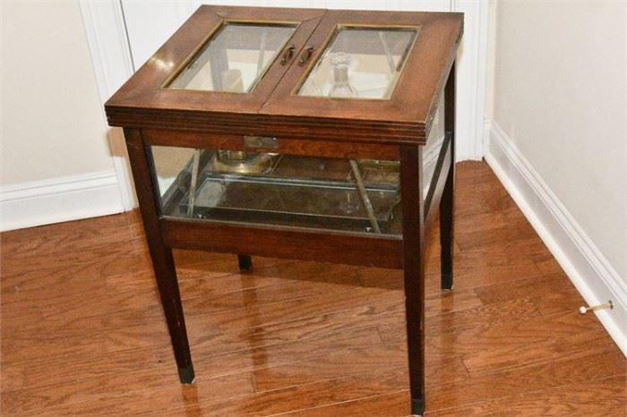 74. English Mahogany Mechanical Tantalus Cabinet