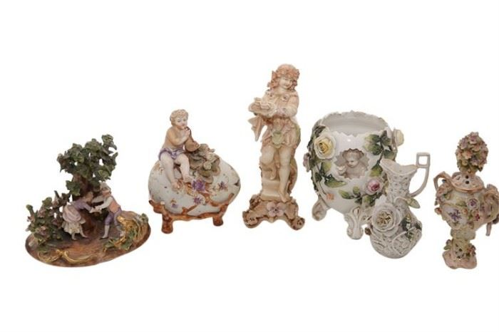 80. Group Lot of Continental Porcelain Objects