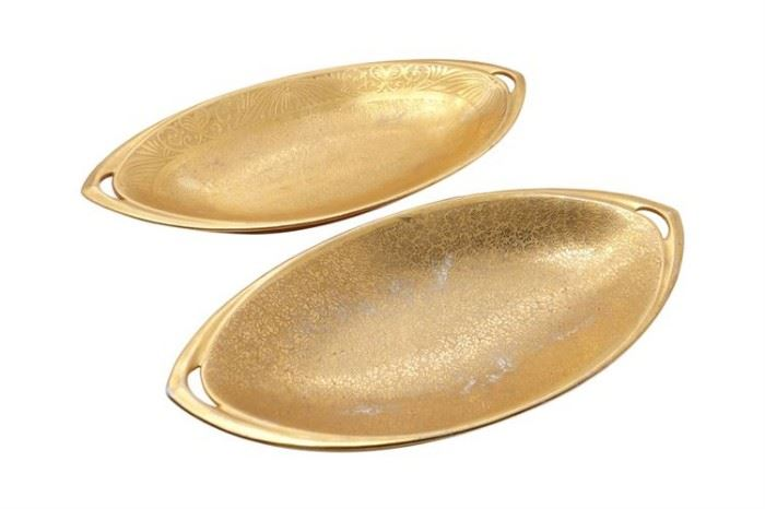 95. Pair of PICKARD Etched Gilt Porcelain Serving Dishes