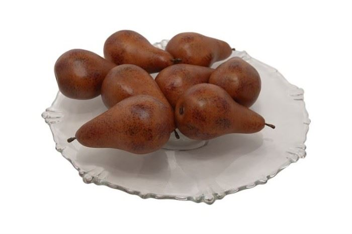 101. Collection of Artificial Bosc Pears on a Glass Serving Plate