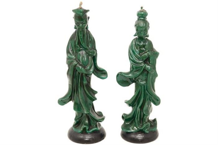 104. Green Wax Candles in the Form of Chinese Figures