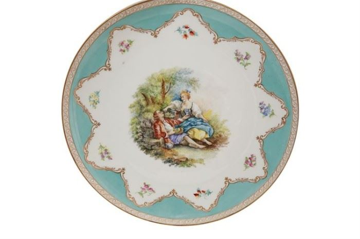 107. DRESDEN Porcelain Cabinet Plate in Turquoise