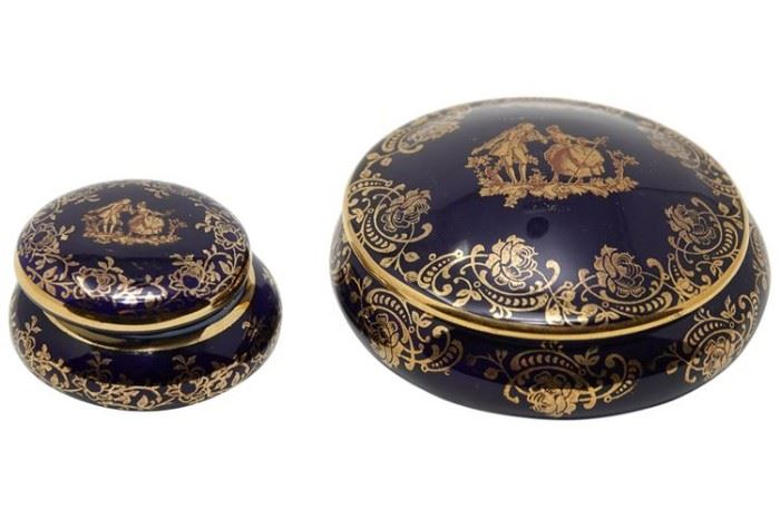 108. Two 2 LIMOGES Porcelain Trinket Boxes