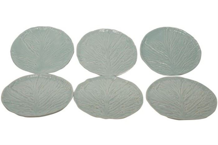 119. Set of Six 6 Cabbage Leaf Form Dessert Plates