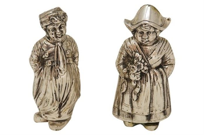 126. Pair of .800 Silver Figural SP Shakers