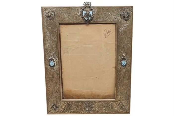 127. Vintage Etched Silver and Turquoise Frame