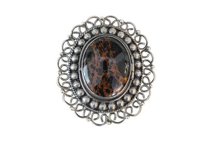 141. Large Mexican Sterling Silver Brooch with Mahogany Jasper