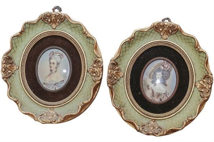 154. Pair of Vintage Decorative Portrait Miniatures