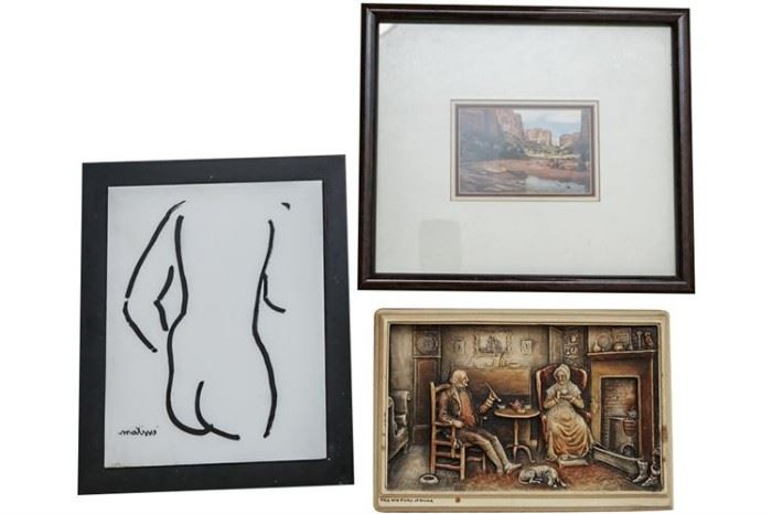 158. Group Lot of Three 3 Assorted Artworks