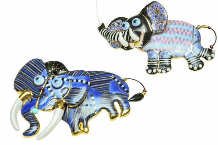 167. Two Porcelain Elephant Form Dress Pins
