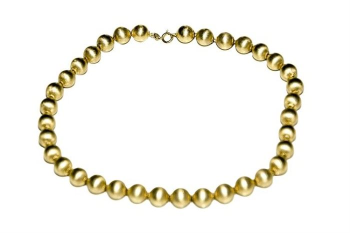 178. 18 Karat Yellow Gold Bead Necklace