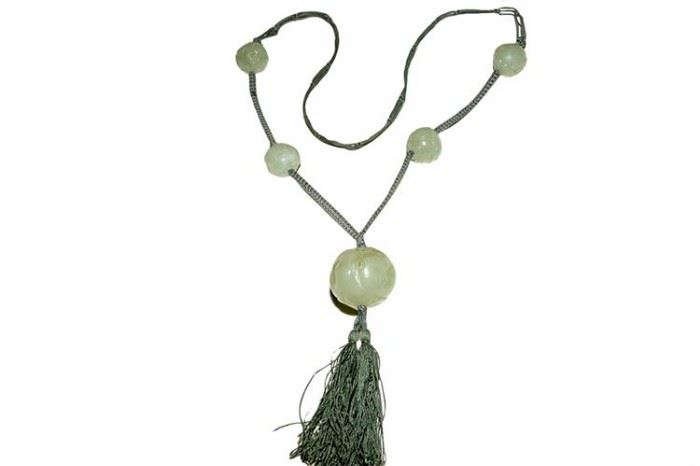 179. Chinese Woven Silk and Jade Bead Necklace