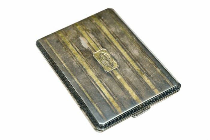 181. Sterling Silver and 14 karat Deco Style Cigarette Case