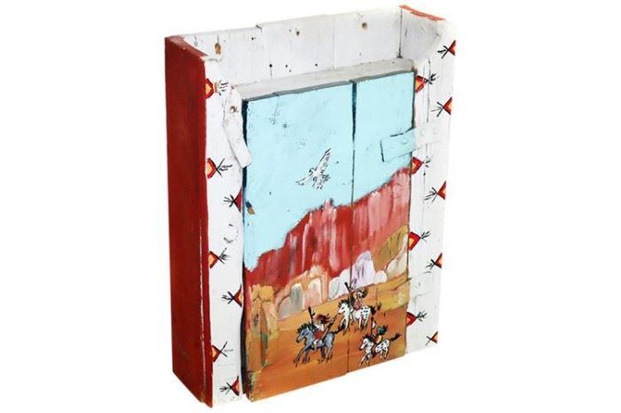 196. Santa Fe Handpainted Barnwood Wall Cabinet