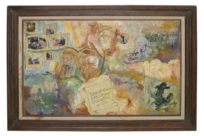 199. Collage Mounted In a Wood Frame