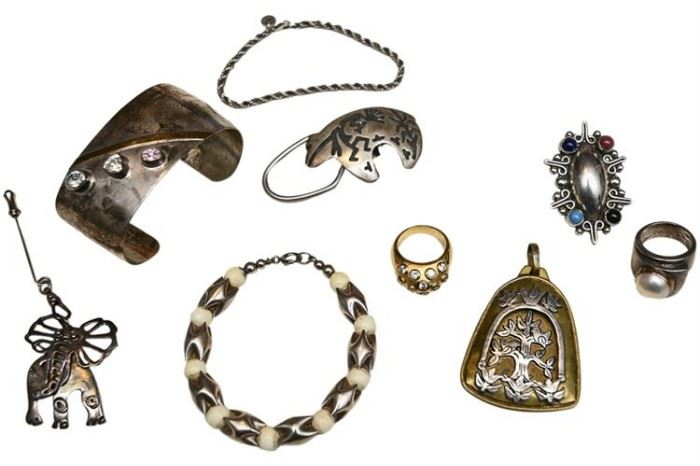 202. Large Group of Silver and Mixed Metal Jewelry