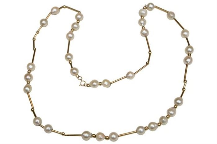206. Pearl and 14K Gold Bead Necklace