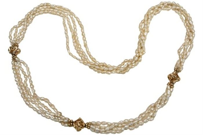 210. Baroque Seed Pearl Multi Strand Necklace