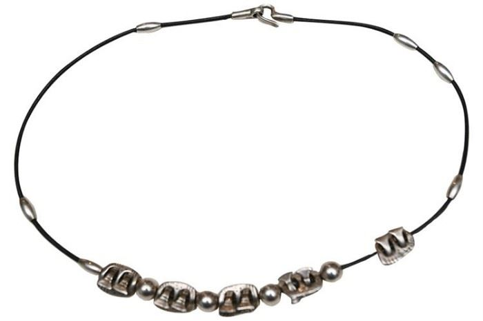 211. Contemporary Style Cord and Sterling Silver Bead Necklace