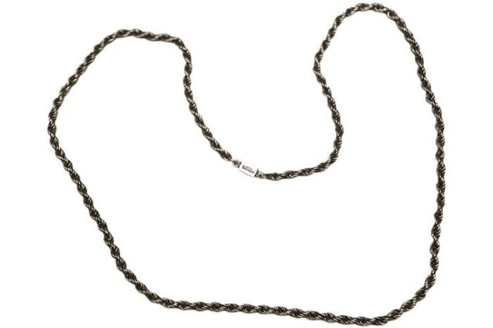 212. Sterling Silver 28 Inch Rope Twist Necklace