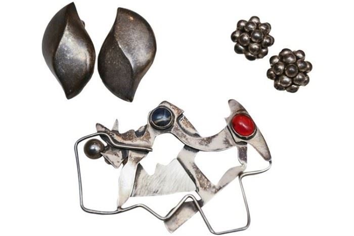 213. Four Pieces Mexican Sterling Silver Jewelry