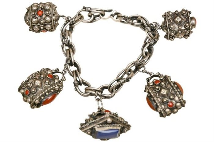 214. Coral and Silver Pendant Bracelet