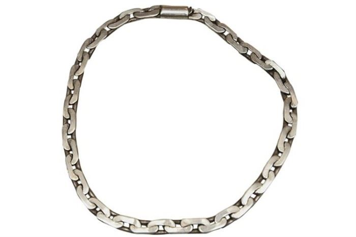 215. Sterling Silver Large Clink Choker Necklace