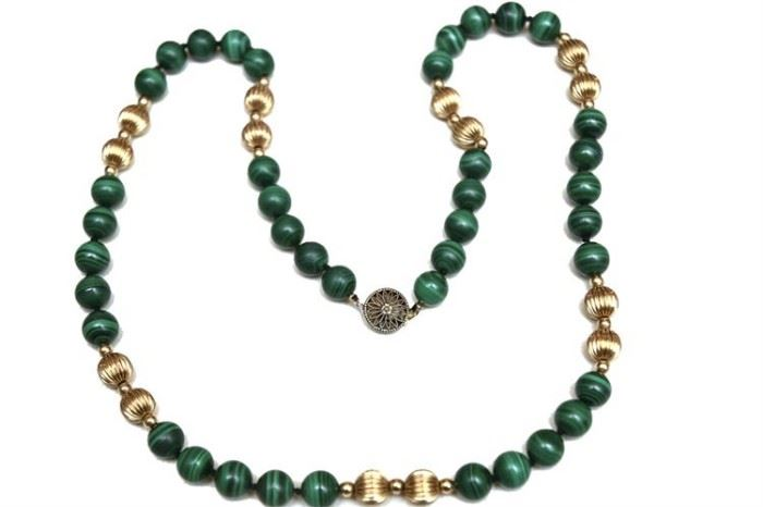 216. Malachite and GoldMedal Bead Necklace