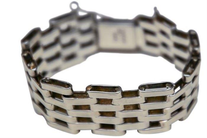 218. Sterling Silver Brick Link Bracelet