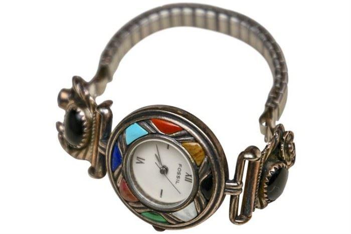 219. Southwestern Silver Framed Wristwatch