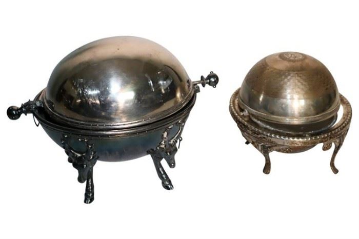 225. Two 2 Silver Plated Dome Serving Dishes