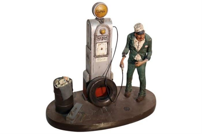 227. Artist Signed Figure Piece Gas Station