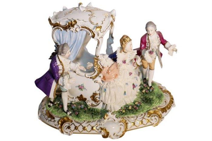 229. Dresden UNTER WEISS BACH Porcelain Figural Grouping