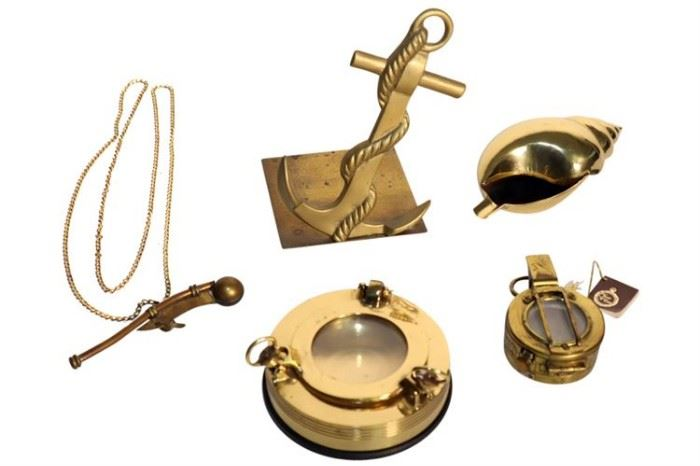 232. WWII English Compass, with a Group of Nautical Related Objects