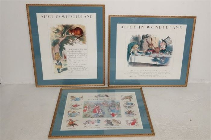 247. Set Three 3 Framed Alice In Wonderland Prints