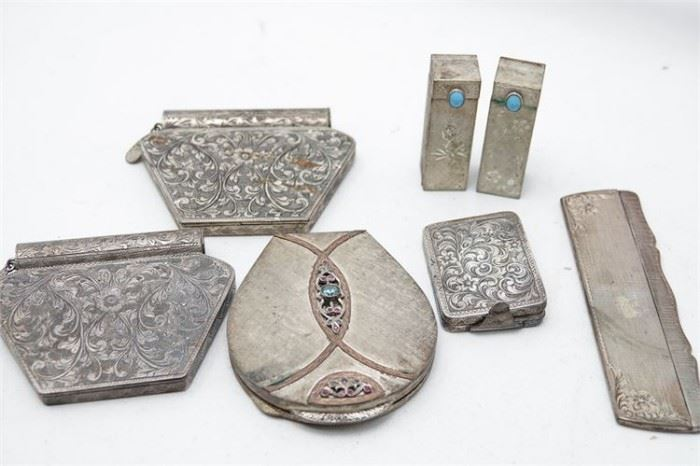 254. Group Lot Of Ladies Silver Metal Pocketbook Items