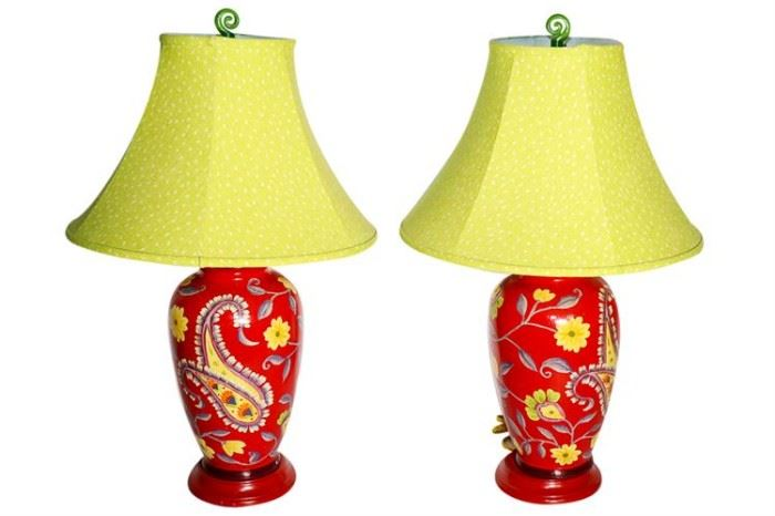 259. Pair Of Red Ceramic Paisley Lamps