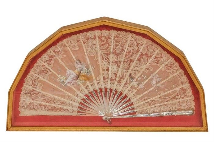 263. Framed Antique Fan With Mother Of Pearl Frame