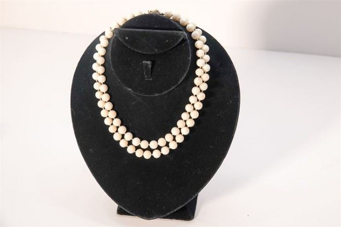 271. DoubleStranded Coral Bead Necklace With Silver Class