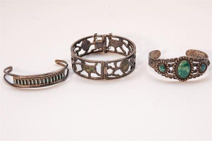 274. Three Silver Southwestern Bracelets