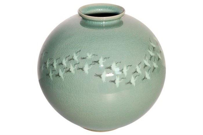 276. Celadon Porcelain Vase With Flying Crane Motif