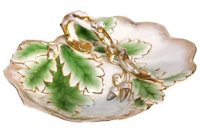 285. German Porcelain Two Compartment Leaf Dish